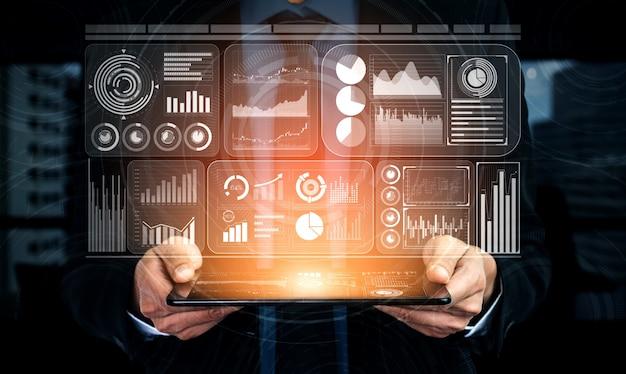 Tecnologia di big data per il concetto di finanza di affari. Foto Premium