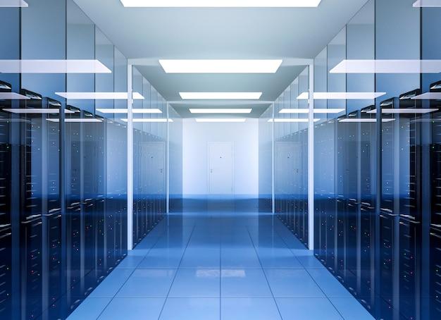 Tecnologia di comunicazione di rete e internet nell'interno della sala server del data center Foto Premium