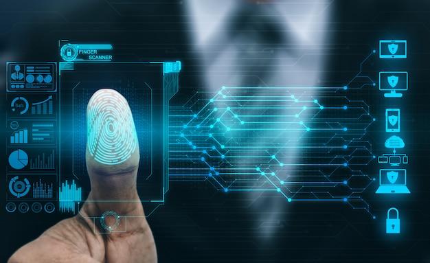 Tecnologia di scansione digitale biometrica per impronte digitali. Foto Premium