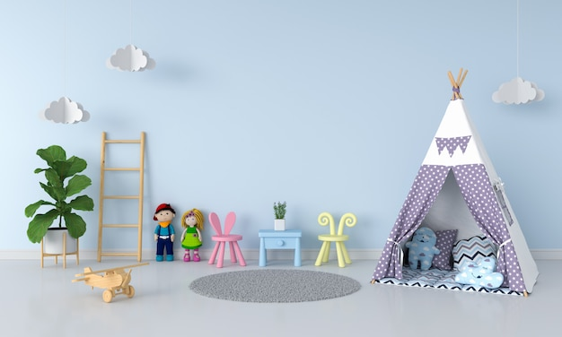 Teepee nell'interno della stanza del bambino per il modello Foto Premium