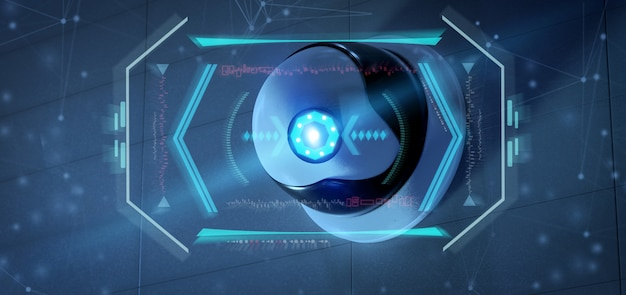 Telecamera di sicurezza che mira a un'intrusione rilevata - rendering 3d Foto Premium