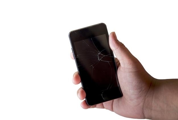 Telefono Cellulare Rotto In Mano Su Sfondo Bianco Scaricare Foto