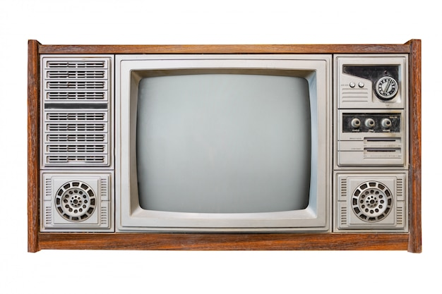 Televisione antica della scatola di legno isolata su bianco con il percorso di ritaglio per oggetto Foto Premium