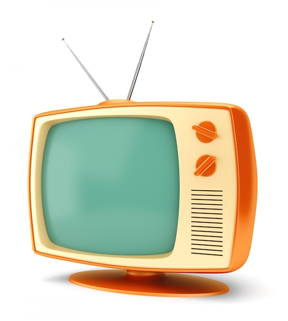 Televisore vintage su bianco Foto Premium