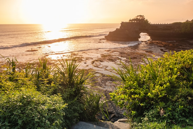Tempio di pura batu bolong sulla scogliera della roccia con l'albero sulla linea costiera al tramonto Foto Premium