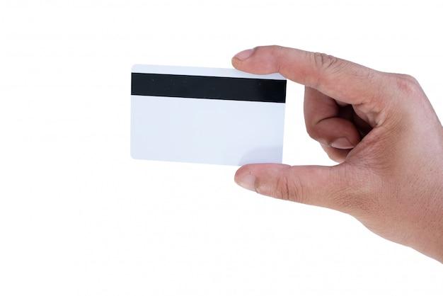 Tenere in mano mockup carta di credito Foto Premium