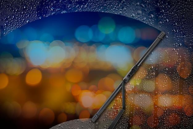 Tergicristallo auto con goccia sul vetro Foto Premium