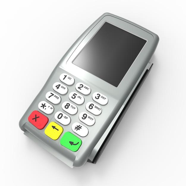 Terminale di pagamento con carta. terminale pos isolato Foto Premium