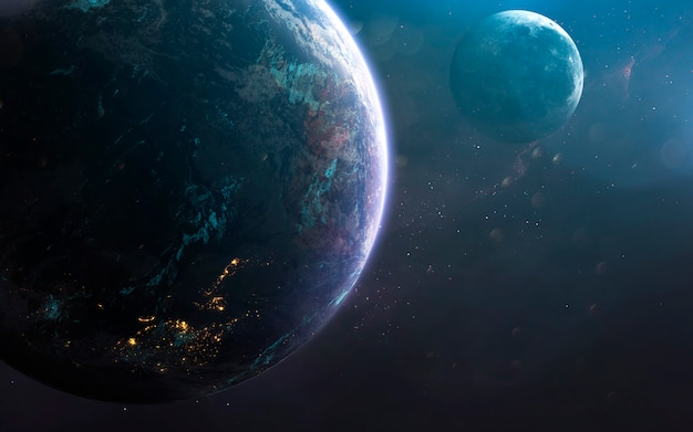 Terra e luna, impressionante carta da parati fantascientifica, paesaggio cosmico. Foto Premium