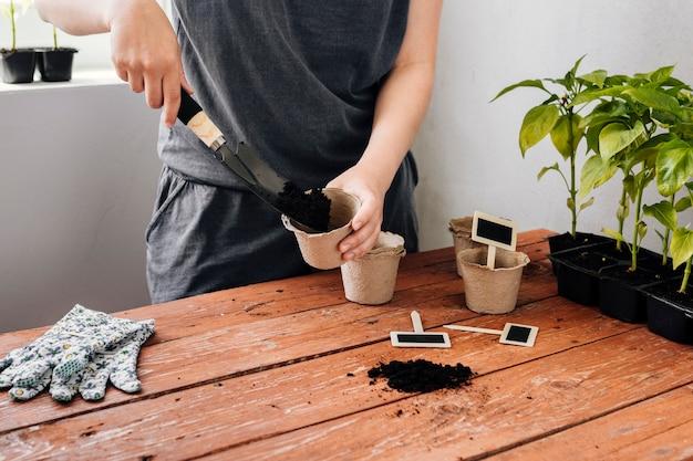 Terreno di versamento del giardiniere in un vaso di fiore Foto Gratuite