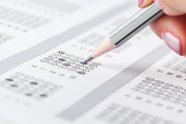 Test del foglio dei punteggi con le risposte Foto Premium