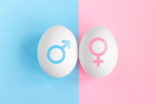 Test di gravidanza. concetto di ragazzo o ragazza. simboli di uomo e donna. concetto di affiliazione di genere Foto Premium