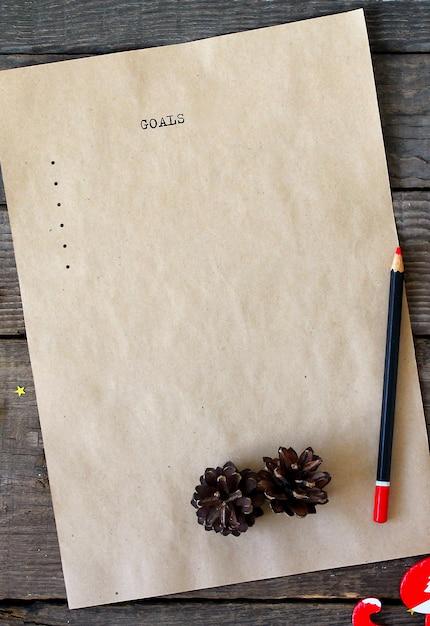 Testo dell'elenco degli obiettivi della vecchia macchina da scrivere Foto Premium