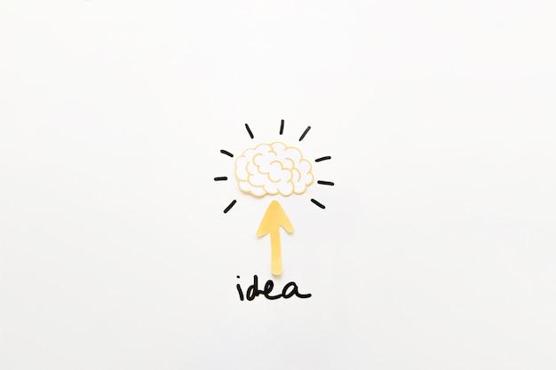 Testo di idea con il simbolo della freccia che dirige verso il cervello pensante Foto Gratuite