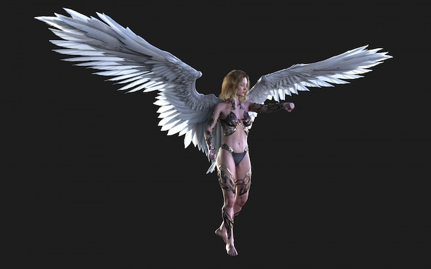 The heaven angel wings, white wing plumage with clipping path. Foto Premium