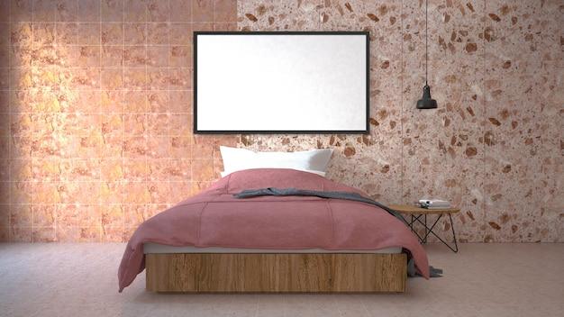 The modern of loft camera da letto. rendering 3d Foto Premium