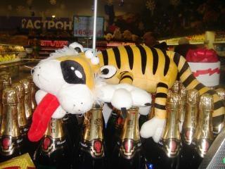 Tigre champagne nuovo anno Foto Gratuite