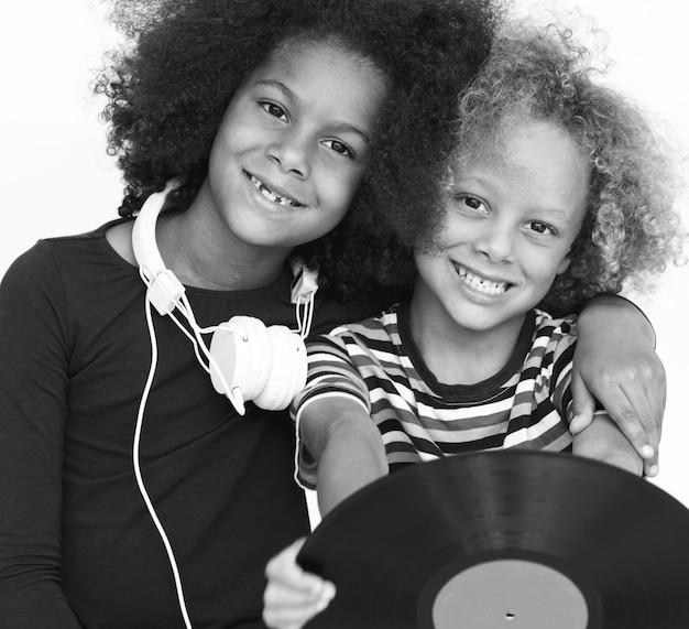 Tiro emozionale dello studio della gente di infanzia di infanzia del bambino Foto Premium