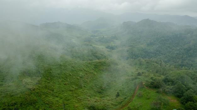 Topview montagna e nebbia Foto Premium