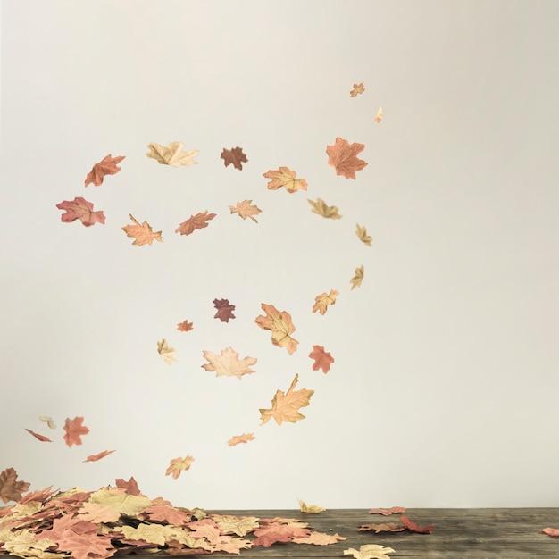 Tornado di caduta sotto il mazzo di foglie Foto Gratuite