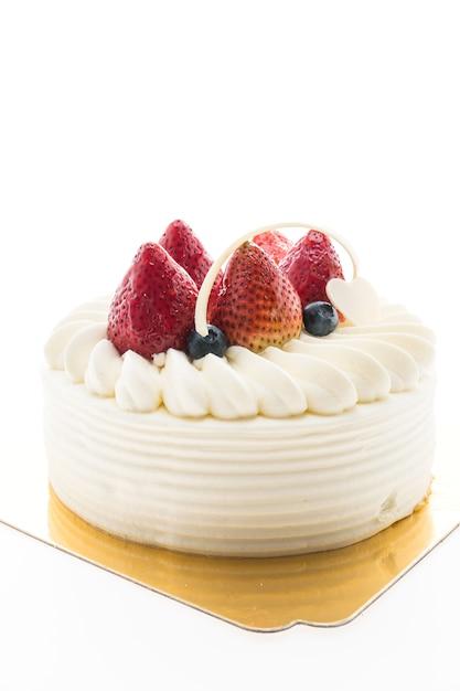 Torta alla crema alla vaniglia con fragole in cima Foto Gratuite