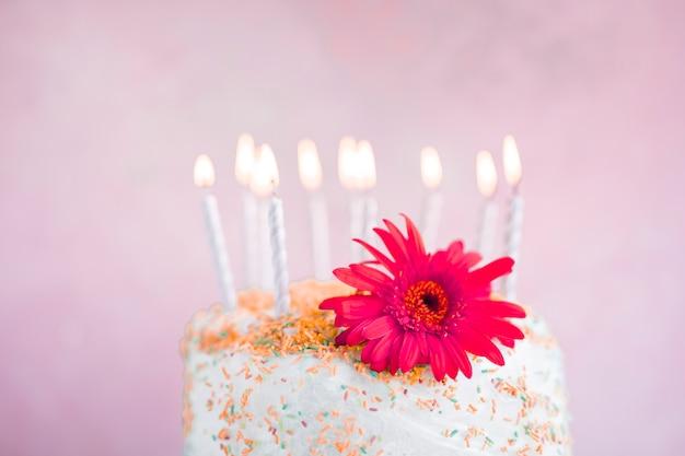 Torta di compleanno davanti alla priorità bassa dell'acquerello Foto Gratuite