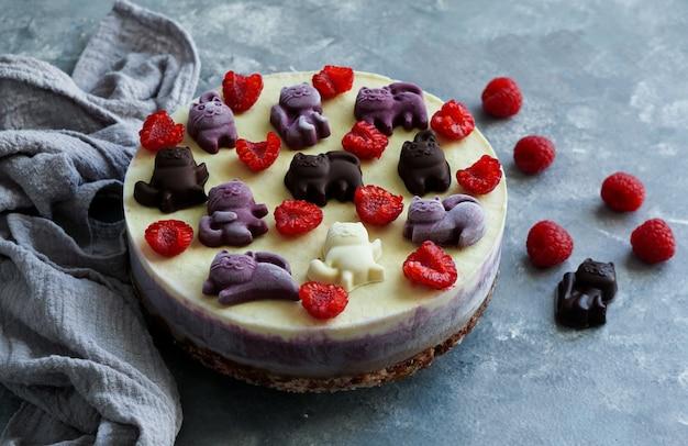 Torte vegane per bambini, con frutta e bacche, decorate con gatti al cioccolato Foto Premium