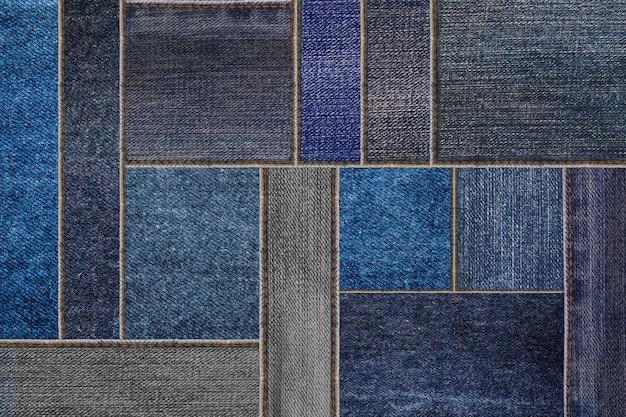 Trama di jeans in denim blu, modello di tessuto jeans denim patchwork Foto Premium