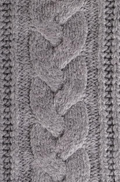 Trama plaid in maglia grigia Foto Premium