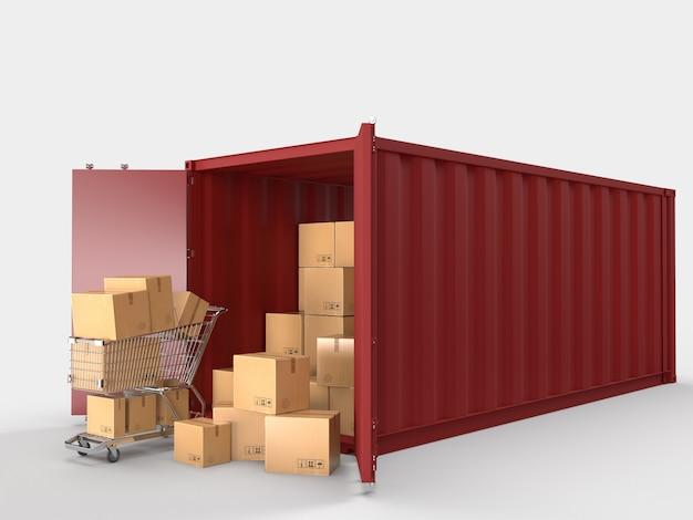 Trasporto di container trasporto container logistici con scatole di cartone marroni consegna pacchi trasporto nel commercio elettronico online. Foto Premium