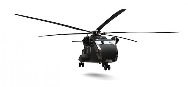 Trasporto militare o elicottero di salvataggio su superficie bianca Foto Premium