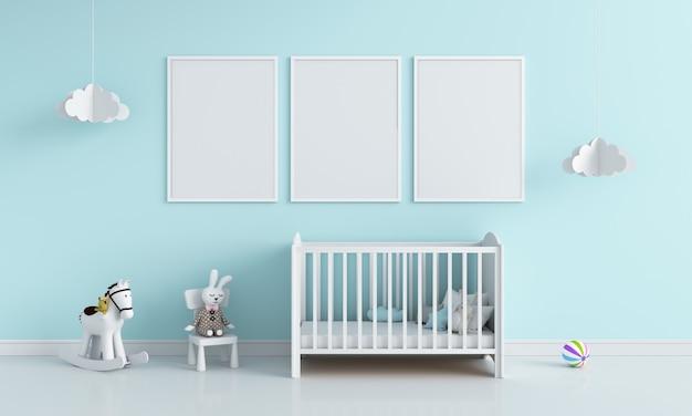 Tre cornice in bianco nella stanza del bambino per il modello Foto Premium