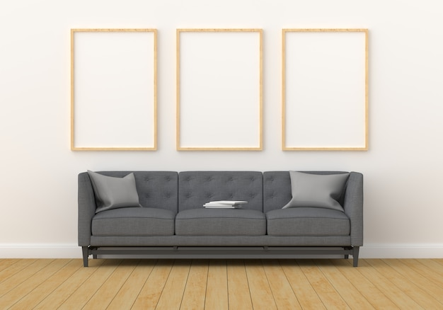 Tre cornici vuote per mockup in salotto moderno Foto Premium