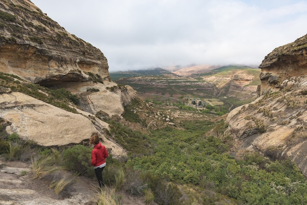 Trekking turistico sulla traccia contrassegnata nel golden gate highlands national park, sudafrica. Foto Premium