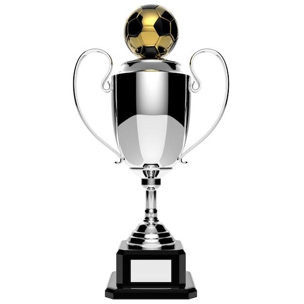Trofeo del premio dell'argento di calcio isolato su bianco con il percorso di ritaglio Foto Premium