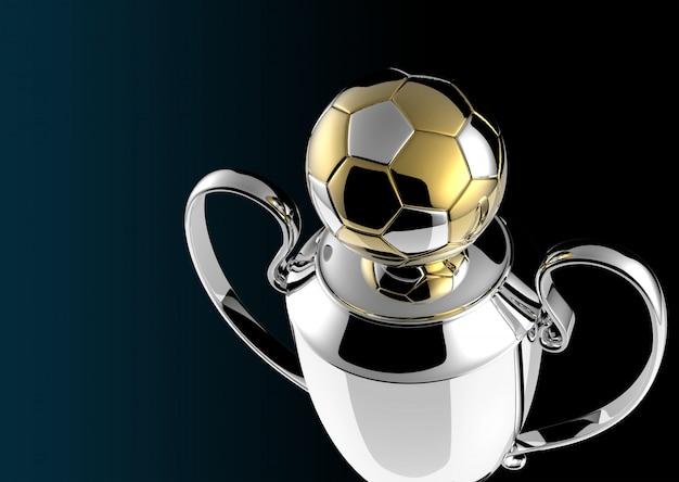 Trofeo di calcio golden award su fondo nero Foto Premium