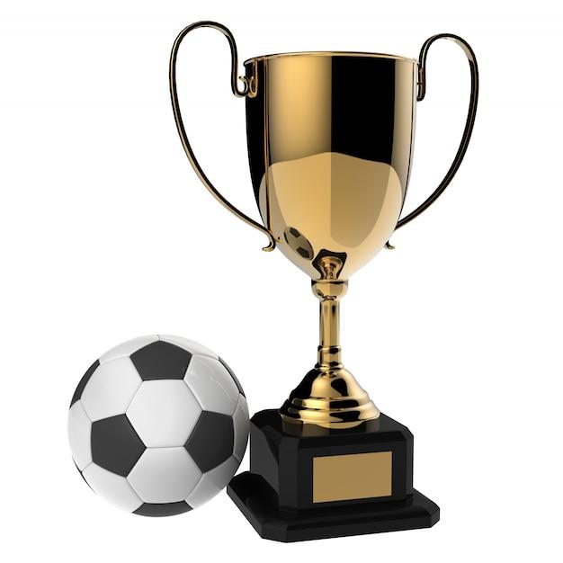 Trofeo dorato del premio di calcio isolato su bianco con il percorso di ritaglio Foto Premium
