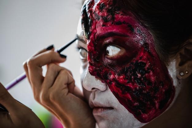 Trucco di ragazza fantasma di halloween Foto Premium