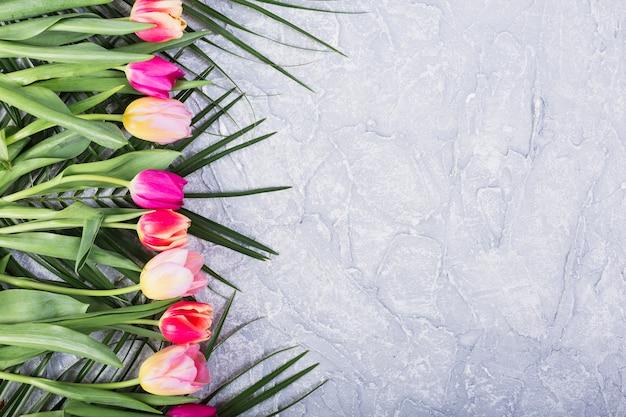 Tulipani e foglie di palma in linea Foto Gratuite