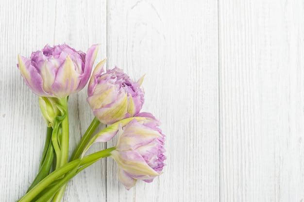 Tulipani rosa sui bordi di legno miseri bianchi Foto Premium