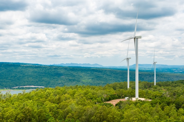 Turbine eoliche in mezzo al cielo di natura, gola e alberi Foto Premium