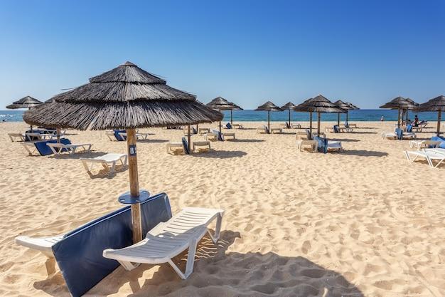 Turisti di svago sulla spiaggia in portogallo. . ilha tavira Foto Premium