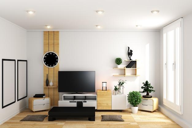 tv in bianco moderno stanza vuota interni minimal design