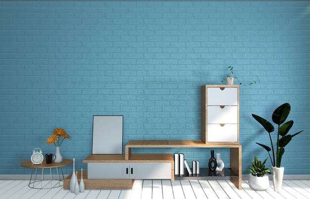 Tv mockup room blu menta parete nel soggiorno giapponese. rendering 3d Foto Premium