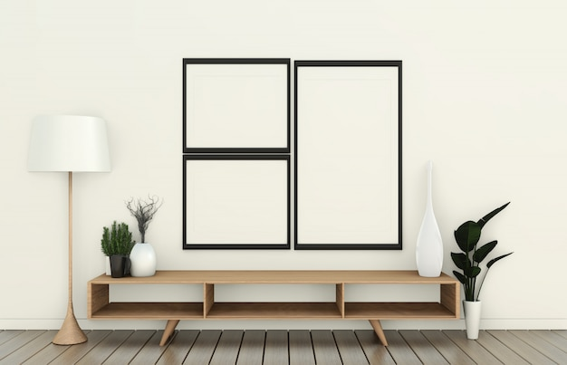 Tv sul gabinetto di legno nella stanza vuota moderna e sulla parete bianca su stile giapponese della stanza bianca del pavimento. rendering 3d Foto Premium