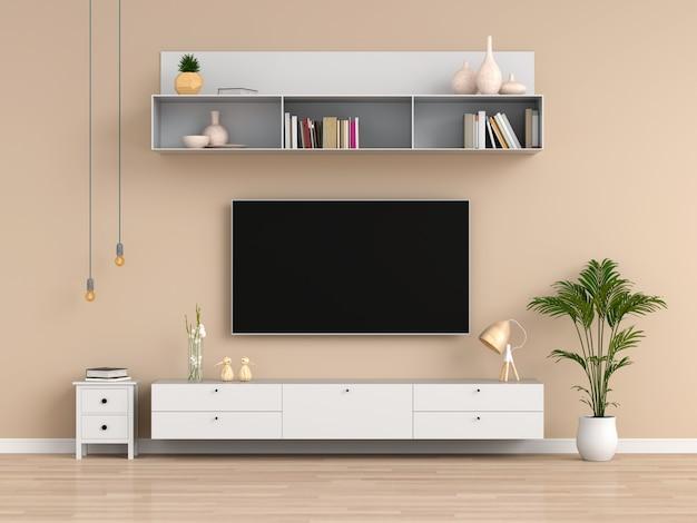 Tv widescreen e credenza nel soggiorno marrone Foto Premium
