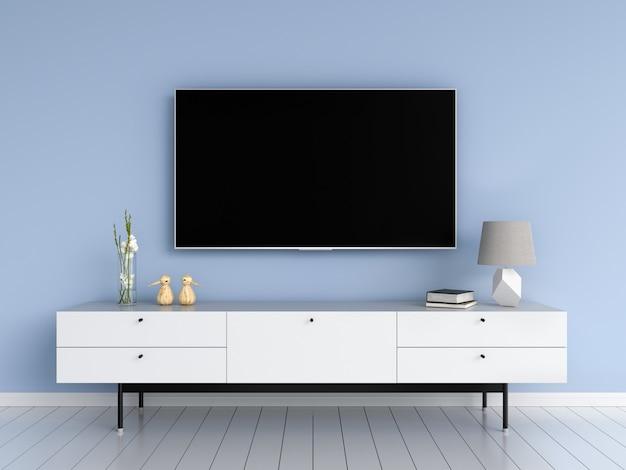 Tv widescreen e credenza nel soggiorno Foto Premium