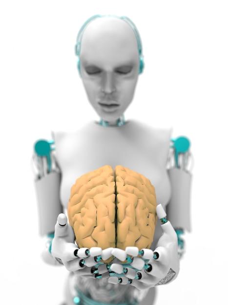 Umanoide con cervello Foto Premium