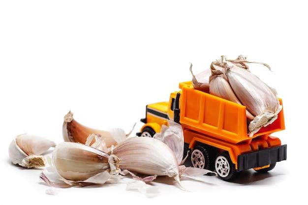 Un autocarro con cassone ribaltabile giallo del giocattolo con aglio su bianco Foto Premium