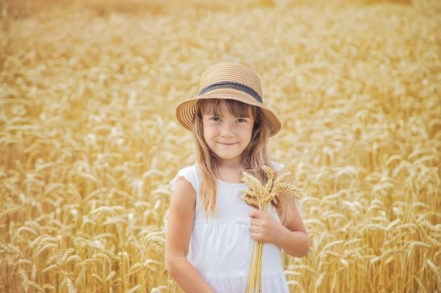 Un bambino in un campo di grano. Foto Premium
